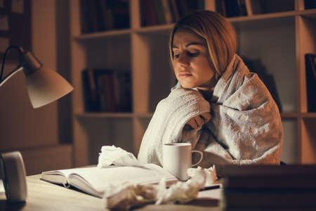 Student has to learn despite illness Stock Photo