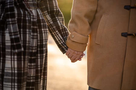 Senior couple is holding hands and walking in park in autumn. Фото со стока