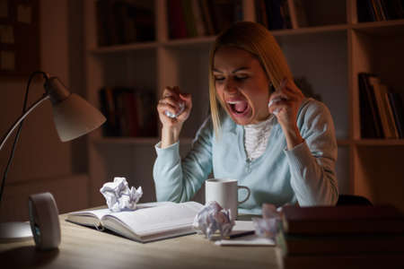 Student is angry, she has to learn at night