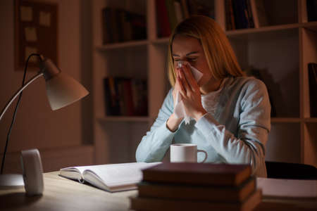 Student is learning at home and having allergy.