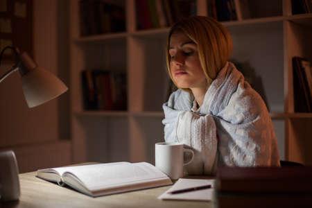 Student has to learn despite illness Фото со стока