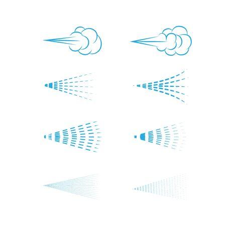 Vecteur de pulvérisation d'air, aérosol, nuage de pulvérisation, pulvérisation de fluide, jeu d'icônes de pulvérisation. Vecteurs