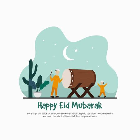 Happy Eid Mubarak, Ramadan Kareem, Islamic design, greeting card template. Father and son, family, happy for muslim party with flat illustration design. Vetores