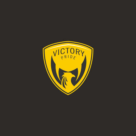 V for Victory logo, emblem, badge illustration concept with eagle wings Çizim
