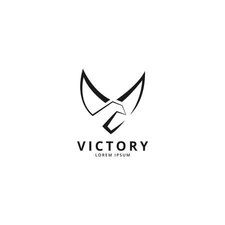 V for Victory logo illustration concept with eagle wings