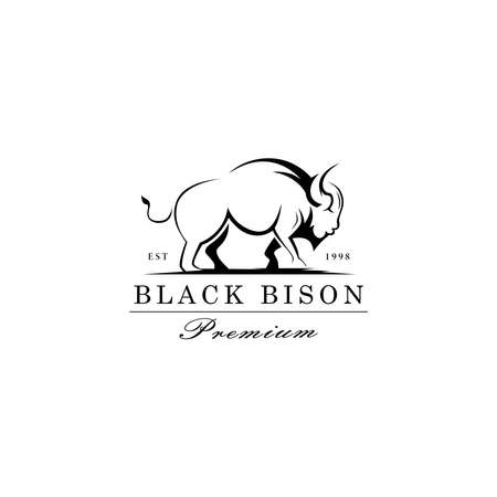Vector logo illustration Black Bison, ox, cow pose silhouette on white background