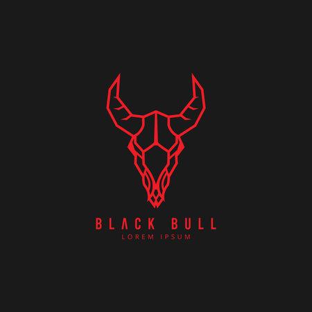 Head Bull icon logo vector design template. Monoline logo bull, cow, ox vector concept