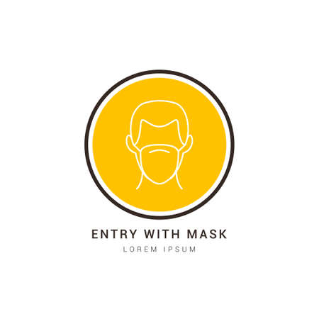 Entry with mask sign vector. Wear a Mask Icon. No Entry Without Face Mask. Vector used for web, sticker, print, banner, flyer.