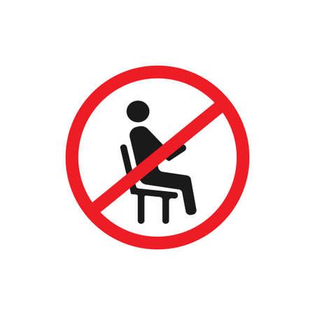 Don't sit,do not sit icon logo design vector template