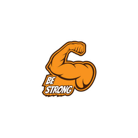 Stickers, label, Biceps muscle icon logo vector design template. Strong arm, muscle arm logo vector illustration