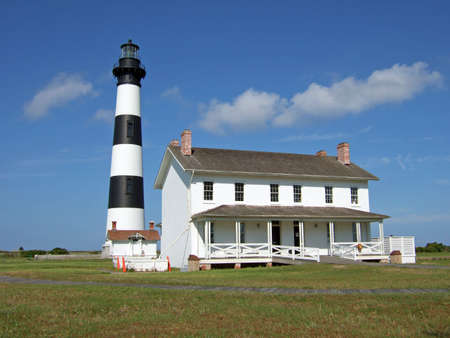 Bodie Island Lighthouse and Keeper's House. Archivio Fotografico