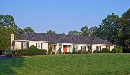 suburban home: An elegant ranch style home in the northeastern part of the United States. Stock Photo