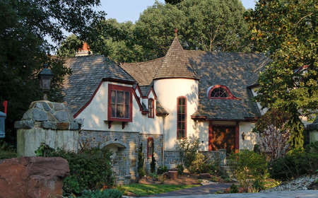 A Castle style house in the suburbs in the United States