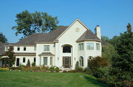 A new home in an upscale neighborhood in the suburbs.