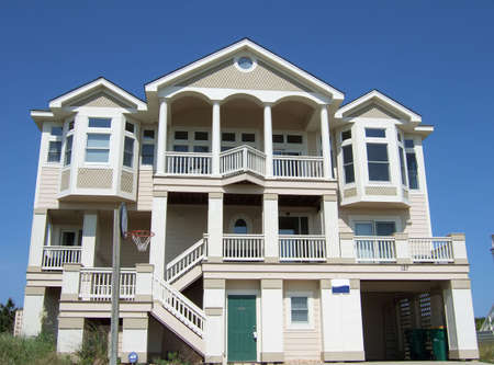 outerbanks: A luxury beach house in the Outerbanks of North Carolina. Stock Photo