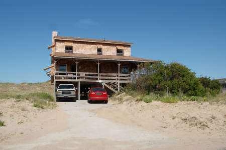 Rustic Beach House in the Outer Banks of North Carolina. Archivio Fotografico