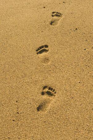 Steps on the sand beach