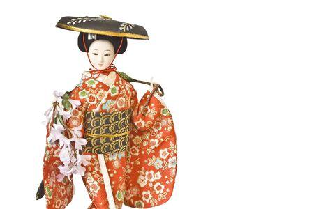 Isolated image of japanese porcelain geisha doll