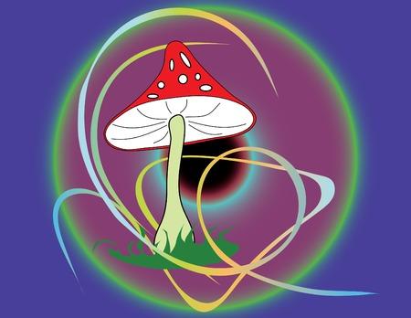 Vector illustration of mushroom with ornament Illustration