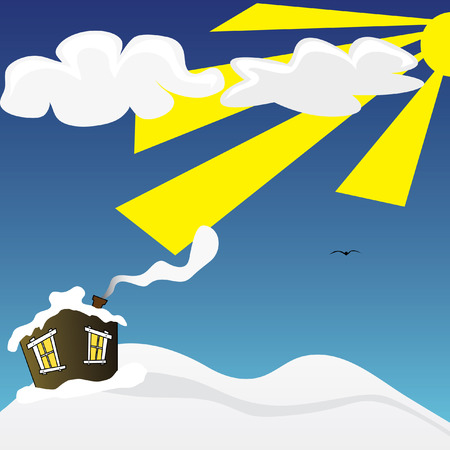Vector illustration of house on snowy landscape