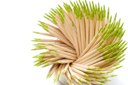 Set of the toothpicks costing in a glass