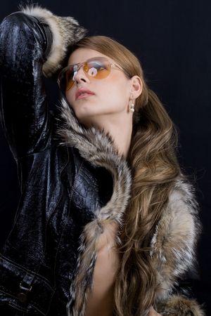 fashion girl in fur