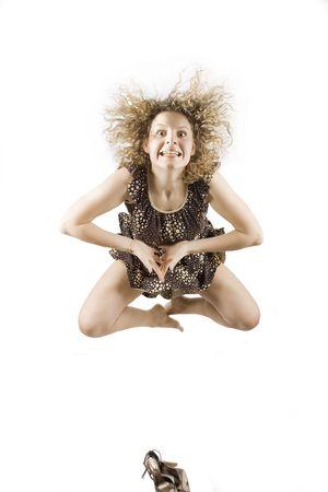 women flying in lotos pose
