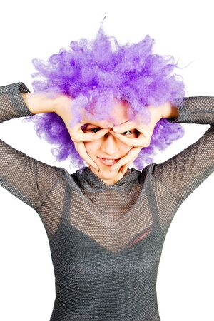 artificial hair: Young woman in violet wig on white background Stock Photo