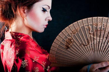 portrait of beautiful japanese women with fan