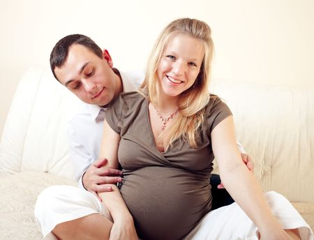 two happy future parents Stock Photo