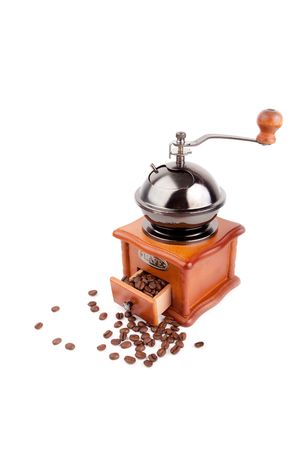 old fashioned coffee grinder on white background photo