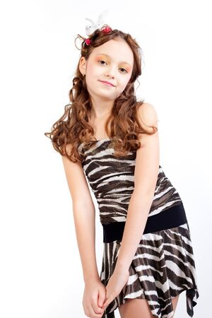 Young model posing on white background Stock Photo