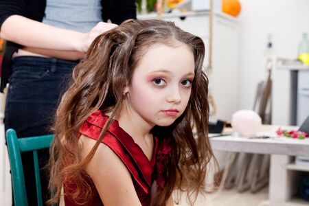 backstage of young model in studio