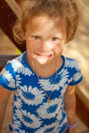 Portrait of the beautiful caucasian little girl