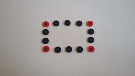 rectangle with round figures of red and black color Stockfoto