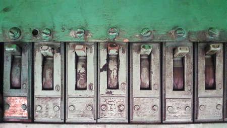 Old green switch panel. Old green switch panel.