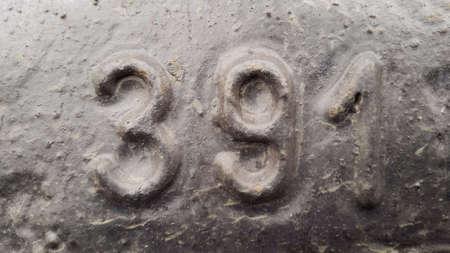 Metal number 391. Texture of rusty metal in the form of figures 391.
