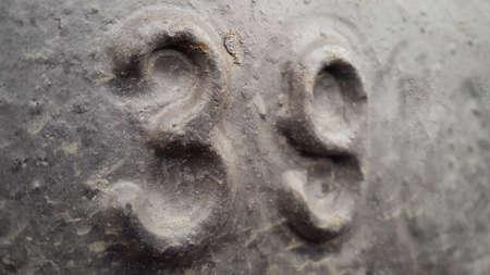 Metal number 39. Texture of rusty metal in the form of figures 39.