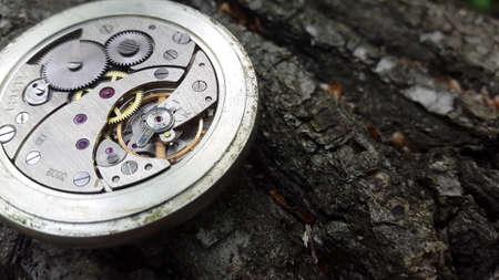 Old Stopwatch On A Stylish Wooden Background, Clock Mechanism. Stockfoto