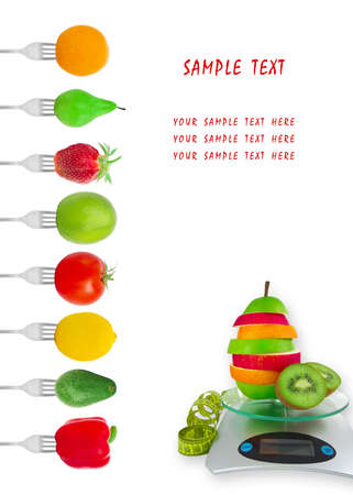 Dietary menu with vegetables and fruit on forks photo
