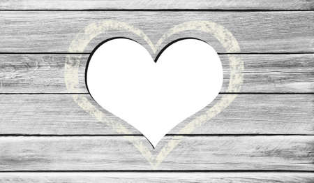 Background from old wooden boards with heart