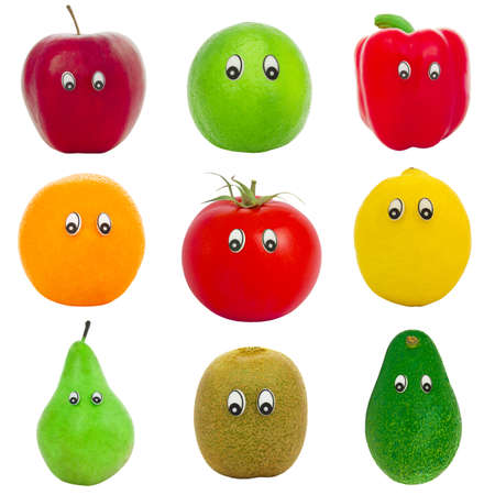 personage: Collage from the isolated fruit and vegetables with eyes Stock Photo