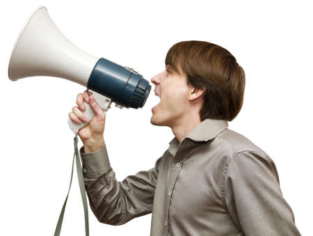 Man with bullhorn isolated on a white background photo