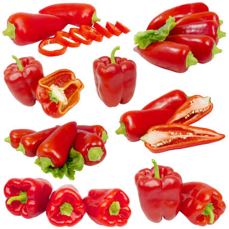 Collage from red peppers isolated on white background photo