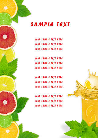 The fruit dietary menu with a place for your text photo
