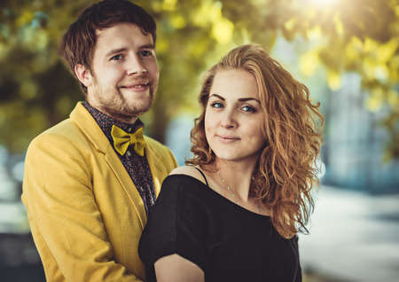 boy lady: Closeup colorful stylish sensual portrait of young beautiful couple happy together