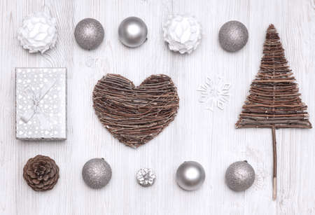 Top view collection of Christmas objects