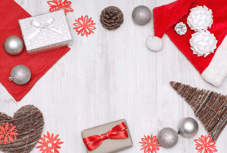 Top view set of Christmas objects