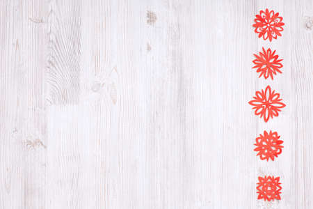 Top view set of Christmas red snowflake