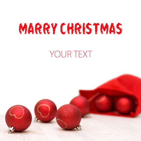 Background with red and gold christmas balls and free place for your text